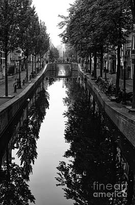 Amsterdam Trees In The Canal 2014 Print by John Rizzuto