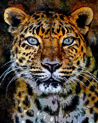 Leopard Digital Art - Amur Leopard Stare by Ernie Echols