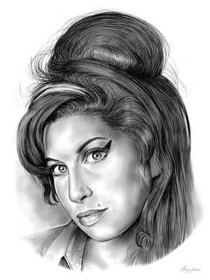 Music Icon Drawing - Amy Winehouse by Greg Joens