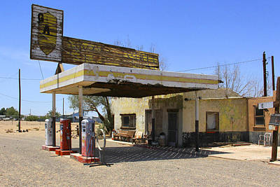 Abandoned Digital Art - An Abandon Gas Station On Route 66 by Mike McGlothlen