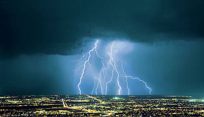 Striking Photograph - An Active Storm Cell Over City, With 9 by Thomas Wiewandt