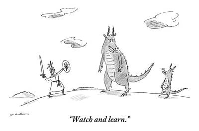 Dragon Drawing - An Adult Dragon Instructs His Child Dragon by Michael Maslin