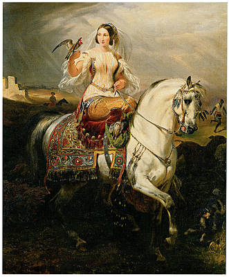 Women On Horses Painting - An Algerian Lady Hawking by Emile-Jean-Horace Vernet