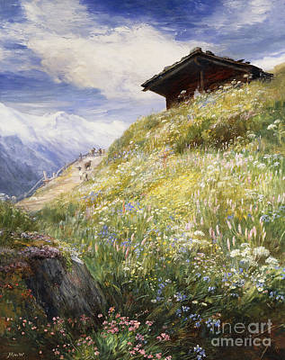 Log Cabin Painting - An Alpine Meadow Switzerland by John  MacWhirter