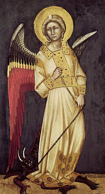 Good Vs. Evil Painting - An Angel With A Demon On A Chain by Ridolfo di Arpo Guariento