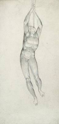 Male Nude Drawing Drawing - An Angel With A Trumpet by William Blake