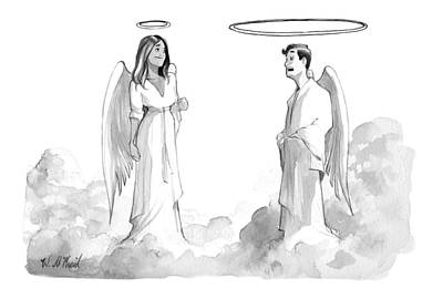 Angels Drawing - An Angel With An Enormous Halo Talking To Another by Will McPhail