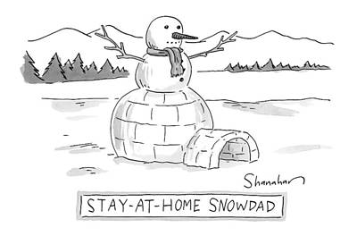 Igloo Drawing - An Arctic Igloo With A Snowman Top by Danny Shanahan
