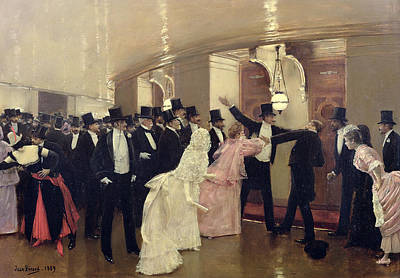 An Argument In The Corridors Of The Opera Print by Jean Beraud