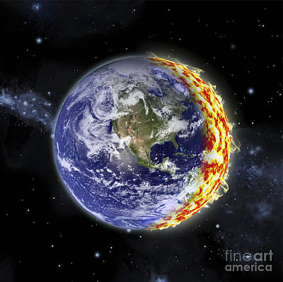 Collision Of Worlds Digital Art - An Artists Depiction Of Planet Earth by Marc Ward