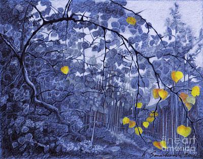 Tarkovsky Drawing - An Aspen Grove Or My Zone by Ninel Senatorova