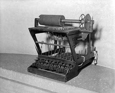1875 Photograph - An Early Typewriter by Underwood Archives