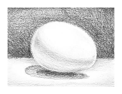White Drawing - An Egg Study One by Irina Sztukowski