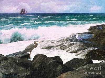 Sea View Digital Art - An Egret's View Seascape by Lianne Schneider