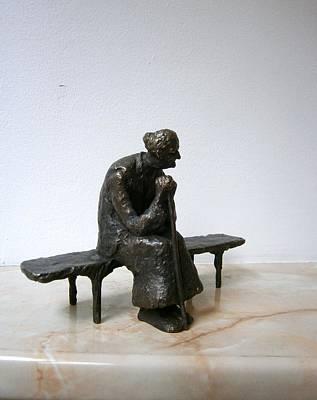 An Elderly Woman On A Bench Print by Nikola Litchkov