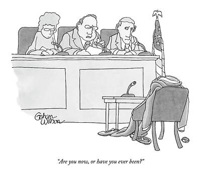 An Empty Suit Sits On A Chair In Court Print by Gahan Wilson