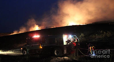 Print featuring the photograph An Engine Crew Works At Night On White Draw Fire by Bill Gabbert