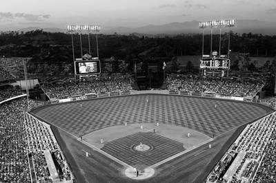 An Evening Game At Dodger Stadium Print by Mountain Dreams