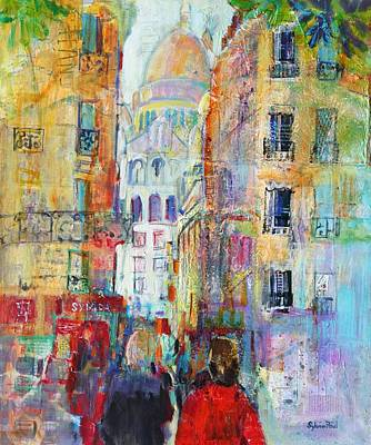 Sacre Coeur Painting - An Evening Walk To Sacre Coeur by Sylvia Paul
