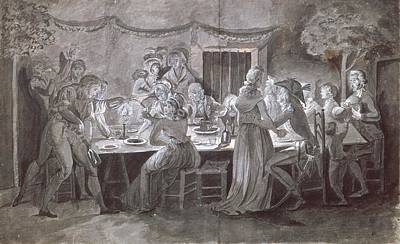 An Evening Wedding Meal Pen & Ink And Gouache On Paper Print by Jacques Bertaux