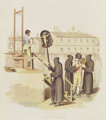 Piazza Drawing - An Execution In Rome For Murder, 1820 by Richard Bridgens