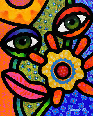 Abstract Faces Painting - An Eye On Spring by Steven Scott