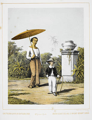 An Indonesian Servant And European Child Print by British Library