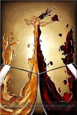 Wine Art Painting - An Intimate Toast Wine Art Painting by Leanne Laine