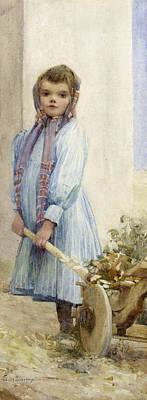 On Paper Painting - An Italian Peasant Girl by Ada M Shrimpton
