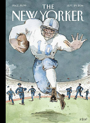 Abuse Painting - An Nfl Player Runs From The Police by Barry Blitt
