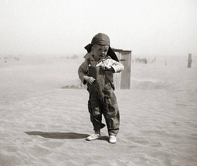 An Oklahoman Boy During A Dust Storm Print by Celestial Images