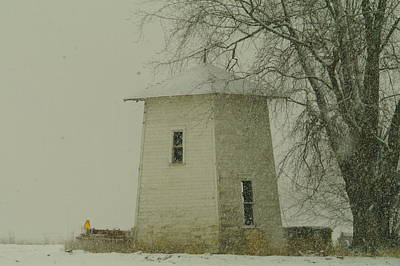 Winter Storm Photograph - An Old Bin In The Snow by Jeff Swan