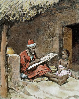 African Huts Photograph - An Old Man Teach To Write A Child by Prisma Archivo