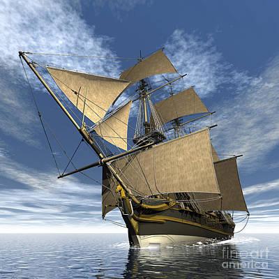 An Old Sailing Ship Navigating Print by Elena Duvernay