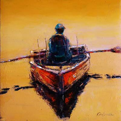 Old Man Fishing Painting - An Old Wooden Boat by Jean Cormier