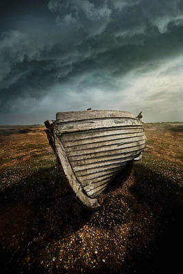 Mess Photograph - An Old Wreck On The Field. Dramatic Sky In The Background by Jaroslaw Blaminsky