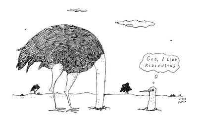 Self Drawing - An Ostrich, With Its Head In The Ground, Peaks by Liana Finck