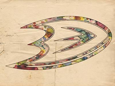 Goaltender Painting - Anaheim Ducks Logo Art by Florian Rodarte