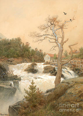 Creek Drawing - Analkande Stream by Hans Gude