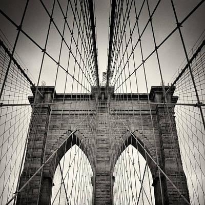 Brooklyn Bridge Photograph - Analog Photography - New York Brooklyn Bridge by Alexander Voss