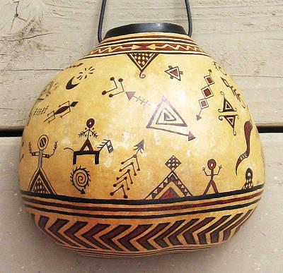 Esprit Mystique Mixed Media - Ancestral Petroglyph Spirit Gourd - Hand Painted by Witches Hammer - Virginia Vivier