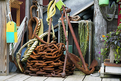 Net Photograph - Anchor And Chain by Betsy Knapp