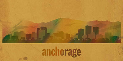 Alaska Mixed Media - Anchorage Alaska City Skyline Watercolor On Parchment by Design Turnpike