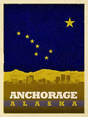 Alaska Mixed Media - Anchorage City Skyline State Flag Of Alaska Art Poster Series 006 by Design Turnpike