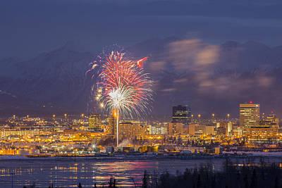Anchorage Fireworks Three Print by Tim Grams