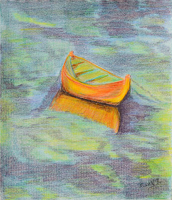 Row Boat Drawing - Anchored In The Shallows by Donna Blackhall