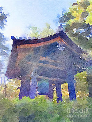 Ancient Belfry Wooden Bell Tower In Nara Japan Print by Beverly Claire Kaiya