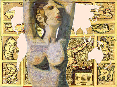 Old Map Digital Art - Ancient Cyprus Aphrodite And World Map  by Augusta Stylianou