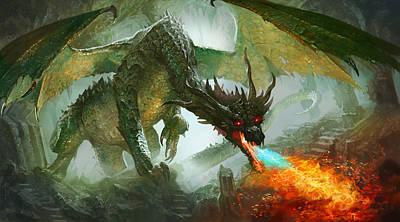 Fantasy Digital Art - Ancient Dragon by Ryan Barger