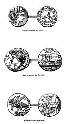 Ancient Greek Coins Print by Science Photo Library